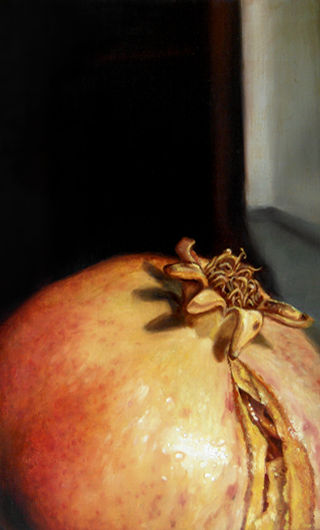 pomegranate - blanka valcharova 2008, oil on canvas, 30 x 45  cm