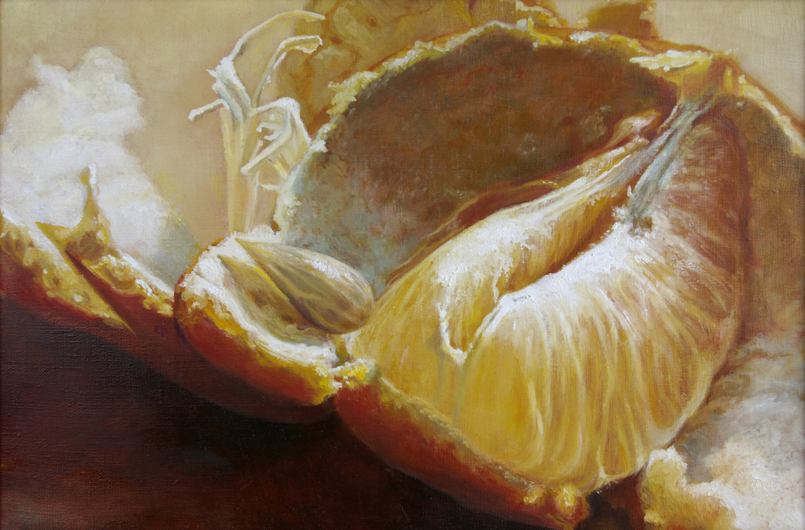 tangerine - blanka valcharova 2010, oil on canvas, 45 x 30  cm
