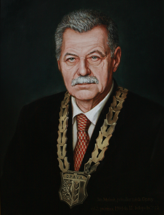 Mayor Jan Mrazek - blanka valcharova 2009, oil on canvas, 64 x 85  cm