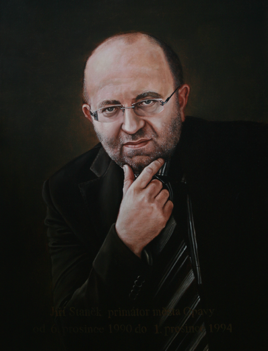 Mayor Jiri Stanek - blanka valcharova 2007, oil on canvas, 64 x 85  cm