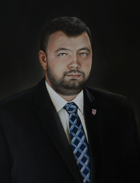 Mayor Martin Vitecek - blanka valcharova 2016, oil on canvas, 64 x 85  cm