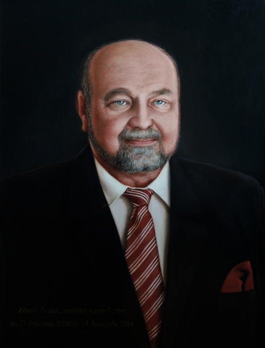 Mayor Zdenek Jirasek - blanka valcharova 2015, oil on canvas, 64 x 85  cm